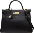 """Luxury Accessories:Bags, Hermès 35cm Black Calf Box Leather Retourne Kelly Bag with Gold Hardware. D Square, 2000. Condition: 2. 14"""" Width ..."""