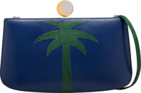 Hermès Navy Blue Calf Box Leather & Emerald Lizard Palm Tree Sac à Malice Clutch U Circle, 1991 C