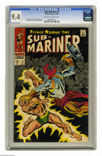 The Sub-Mariner #4 (Marvel, 1968) CGC NM 9.4 Off-white to white pages. John Buscema cover. Buscema and Frank Giacoia art...