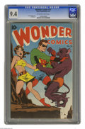 Wonder Comics #11 (Better Publications, 1947) CGC NM 9.4 Off-white to white pages. Action-packed cover art, with a beaut...