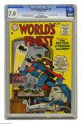 Golden Age (1938-1955):Superhero, World's Finest Comics #75 (DC, 1955) CGC FN/VF 7.0 White pages. First code approved issue. Curt Swan cover. Swan and George ...