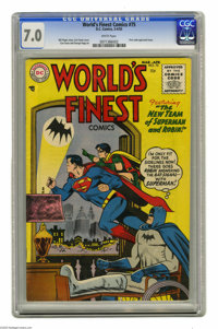 World's Finest Comics #75 (DC, 1955) CGC FN/VF 7.0 White pages. First code approved issue. Curt Swan cover. Swan and Geo...