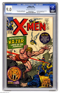 X-Men #10 (Marvel, 1965) CGC VF/NM 9.0 Off-white to white pages. First Silver Age appearances of Ka-Zar and Zabu the tig...