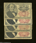 Fractional Currency:Fifth Issue, 25c Fifth Issue Four Examples Very Good or Better.... (4 notes)