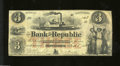 Obsoletes By State:Rhode Island, Providence, RI- Bank of the Republic $3 Sep. 8, 1853
