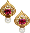 Estate Jewelry:Earrings, Diamond, Pink Tourmaline, Freshwater Cultured Pearl, Gold Earrings, Elizabeth Gage, English. ...