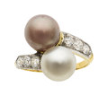Estate Jewelry:Rings, Art Deco Natural Pearl, Diamond, Platinum-Topped Gold Ring, Tiffany& Co.. ...