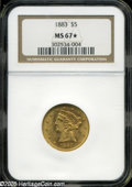 Liberty Half Eagles: , 1883 $5 MS67 NGC....