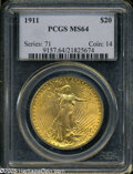 """Saint-Gaudens Double Eagles: , 1911 $20 MS64 PCGS. The current Coin Dealer Newsletter (Greysheet)wholesale """"bid"""" price is $3200.00...."""
