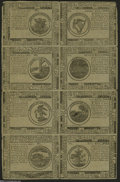Colonial Notes:Continental Congress Issues, Continental Currency May 10, 1775 Half Sheet of Eight BlueCounterfeit Detectors Very Fine....