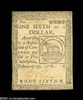 Colonial Notes:Continental Congress Issues, Continental Currency February 17, 1776 $1/6 Choice About New....