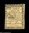 Colonial Notes:Continental Congress Issues, Continental Currency February 17, 1776 $1/3 Very Choice New....