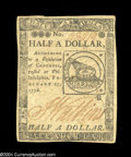 Colonial Notes:Continental Congress Issues, Continental Currency February 17, 1776 $1/2 Extremely Fine....