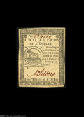 Colonial Notes:Continental Congress Issues, Continental Currency February 17, 1776 $2/3 Very Choice New....