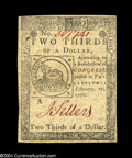 Colonial Notes:Continental Congress Issues, Continental Currency February 17, 1776 $2/3 Choice New....