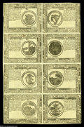 Colonial Notes:Continental Congress Issues, Continental Currency May 9, 1776 Eight Subject Blue Counterfeit Detector Sheet About New....