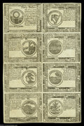 Colonial Notes:Continental Congress Issues, Continental Currency November 2, 1776 Half Sheet of Eight BlueCounterfeit Detectors....