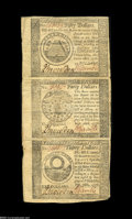 Colonial Notes:Continental Congress Issues, Continental Congress Issue September 26, 1778 Uncut Strip of ThreeExtremely Fine....
