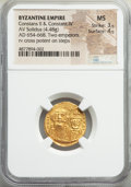 Ancients:Byzantine, Ancients: Constans II Pogonatus (AD 641-668), with Constantine IV.AV solidus (19mm, 4.48 gm, 6h). NGC MS 3/5 - 4/5....