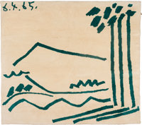 After Pablo Picasso (Spanish, 1881-1973) Tapestry, circa 1965 Wool 75-3/4 x 85 inches (192.4 x 21