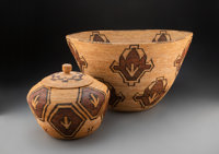 Two Yokuts Polychrome Coiled Baskets Aida Maggie Icho (Wachnomkot) c. 1925... (Total: 2)