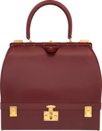 "Hermès Rouge H Calf Box Leather Sac Mallette with Gold Hardware Condition: 3 12.5"" Width x 11"" He"