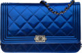 """Luxury Accessories:Bags, Chanel Blue Quilted Patent Leather Boy Wallet on Chain with Gunmetal Hardware. Condition: 1. 7.5"""" Width x 5"""" Height x ..."""