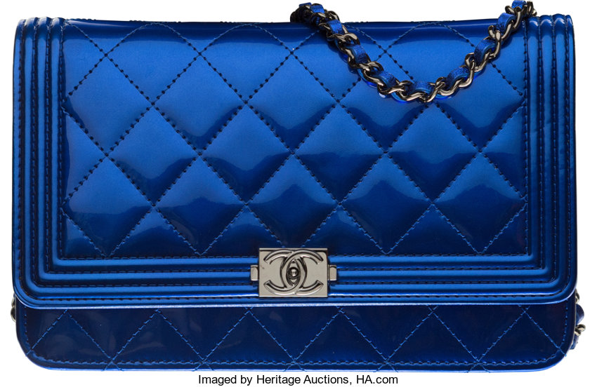 2e2d6ac11e55 ... Luxury Accessories:Bags, Chanel Blue Quilted Patent Leather Boy Wallet  on Chain withGunmetal Hardware ...