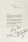 Autographs:U.S. Presidents, (Gene Sarazen) A fine group of three pieces relative to the career of professional golfer Gene Sarazen, including letters from... (Total: 3 )