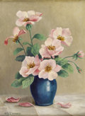 Texas:Early Texas Art - Regionalists, MARY EDWARDS (1871-1951). Still Life with Pink Anenome,1930s. Oil on canvasboard. 16in. x 12in.. Signed lower left. P...