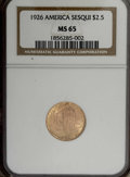 Commemorative Gold: , 1926 $2 1/2 Sesquicentennial MS65 NGC. For some reason, examples ofthis commemorative gold issue tend to show chatter mark...