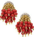 Estate Jewelry:Earrings, Coral, Diamond, Gold Earrings, Aletto Bros.. ...