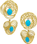 Estate Jewelry:Earrings, Turquoise, Diamond, Gold Earrings, Aletto Bros.. ...