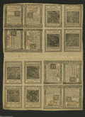 Colonial Notes:Pennsylvania, Pennsylvania October 25, 1775 Uncut Double Sheet of Sixteen....