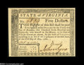 Colonial Notes:Virginia, Virginia May 1, 1780 $5 Gem New....