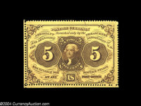 Fr. 1228 5c First Issue Gem New. An unusually nice example with two full strips of margin outside of the perforations. T...