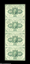 Fractional Currency:First Issue, Fr. 1242 10c First Issue Vertical Strip of Four About New....