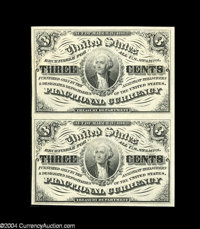 Fr. 1226 3c Third Issue Vertical Pair Gem New. The pair itself and both notes individually are both beautifully margined...