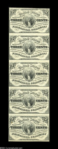 Fr. 1226 3c Third Issue Vertical Strip of Five Choice New. An attractive strip of fully uncirculated notes, the margins...
