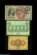 Three Nice Fractional Types. Fr. 1230, Fr. 1269, and Fr. 1312. All three notes are very pretty. Extremely Fine pieces...
