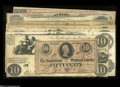 Confederate Notes:Group Lots, Cash of the Conspirators.... (9 notes)