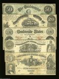 Confederate Notes:Group Lots, Various 1861 Types.... (5 notes)