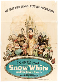 Snow White and the Seven Dwarfs One Sheet Movie Poster (RKO, 1937)