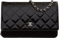Luxury Accessories:Bags, Chanel Black Quilted Patent Leather Wallet on Chain with Silver Hardware. The Collection of Candy Spelling. Condition:...