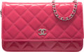 Luxury Accessories:Bags, Chanel Pink Quilted Patent Leather Wallet on Chain with Silver Hardware. The Collection of Candy Spelling. Condition: ...