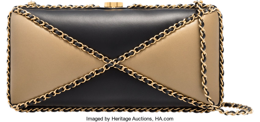 40eb333b83d3 ... Luxury Accessories:Bags, Chanel Limited Edition Black & Gold  Lambskin Leather ChainAround Clutch ...