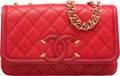 """Luxury Accessories:Bags, Chanel Red Quilted Caviar Leather CC Filigree Bag with Gold Hardware. Condition: 1. 8.5"""" Width x 5"""" Height x 3"""" Depth..."""