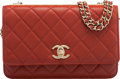"""Luxury Accessories:Bags, Chanel Red Quilted Lambskin Leather Wallet on Chain with Gold Hardware. Condition: 2. 7.5"""" Width x 5"""" Height x 1"""" Dept..."""