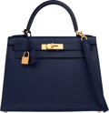 "Luxury Accessories:Bags, Hermès 28cm Blue Saphir Epsom Leather Sellier Kelly Bag with Gold Hardware. X, 2016. Condition: 2. 11"" Width x 8"" ..."