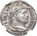 Ancients:Roman Imperial, Ancients: Diocletian (AD 284-305). AR argenteus (18mm, 2.87 gm,1h). NGC Choice MS 5/5 - 4/5....